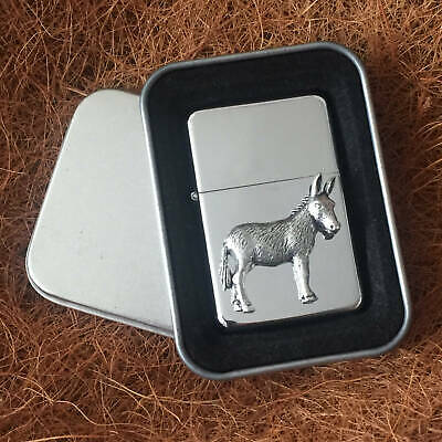 Star Cigarette Lighter /w Pewter Donkey Horse  Emblem FREE Gift Tin