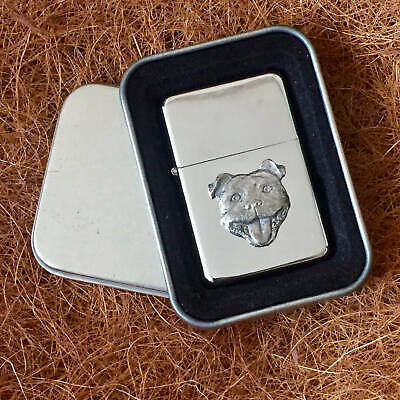 Star Lighter /w Pewter Staffordshire Terrier Staffy Emblem FREE Gift Tin