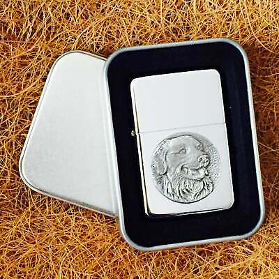Star Cigarette Lighter /w Pewter Golden Retriever Emblem FREE Gift Tin