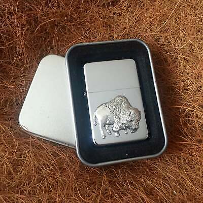 Star Cigarette Lighter /w Pewter American Bison Buffalo Emblem FREE Gift Tin