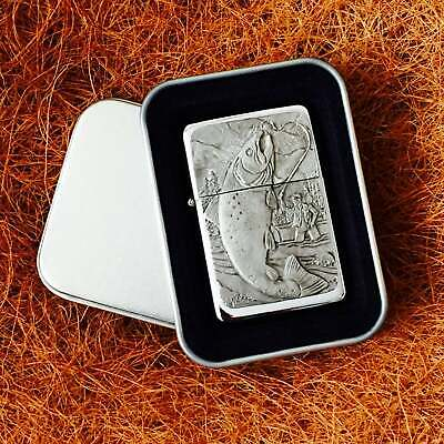 Star Cigarette Lighter /w Pewter Fishing Scene Emblem FREE Gift Tin