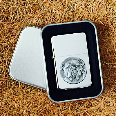 Star Cigarette Lighter /w Pewter British Bulldog Emblem FREE Gift Tin