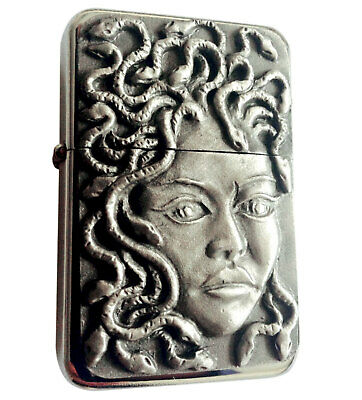 Star Cigarette Lighter /w Antique Medusa Emblem Complete /w Metal Gift Tin