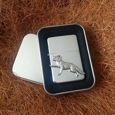 Star Cigarette Lighter /w Pewter Running Fox  Emblem FREE Gift Tin