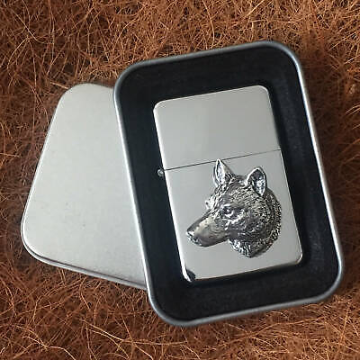 Star Cigarette Lighter /w Pewter Wolf Head Emblem FREE Gift Tin