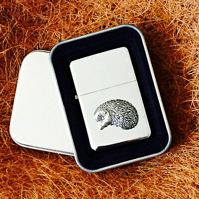 Star Cigarette Lighter /w Pewter Hedgehog  Emblem FREE Gift Tin