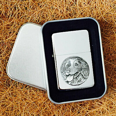 Star Cigarette Lighter /w Pewter Springer Spaniel Emblem FREE Gift Tin