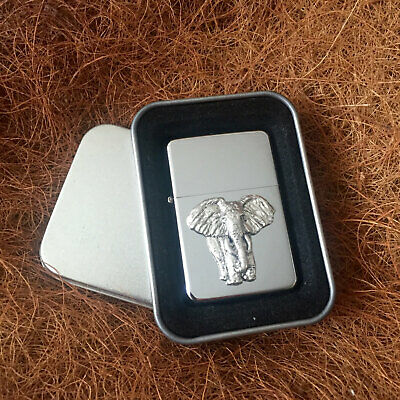 Star Cigarette Lighter /w Pewter Elephant Nature Emblem FREE Gift Tin