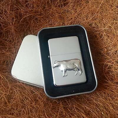 Star Cigarette Lighter /w Pewter Cow Farm Emblem FREE Gift Tin