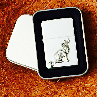 Star Cigarette Lighter /w Antique Wolf Emblem Complete /w Metal Gift Tin