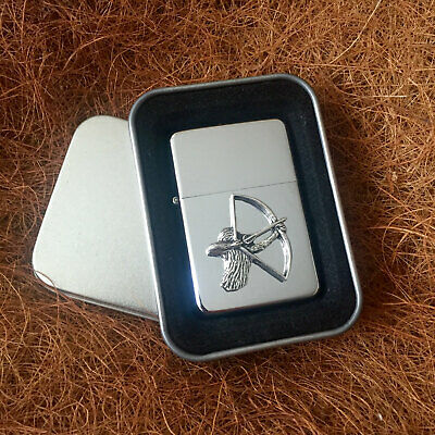 Star Cigarette Lighter /w Pewter Bow Man Archery Emblem FREE Gift Tin