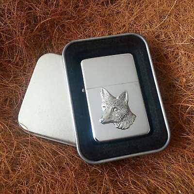 Star Cigarette Lighter /w Pewter Fox Head Hunting Emblem FREE Gift Tin