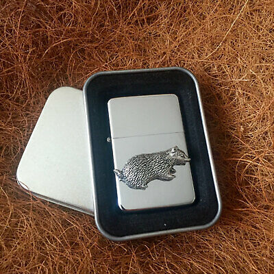 Star Cigarette Lighter /w Pewter Badger  Emblem FREE Gift Tin