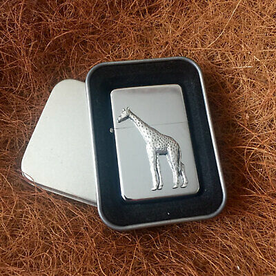 Star Cigarette Lighter /w Pewter Giraffe Nature Emblem FREE Gift Tin