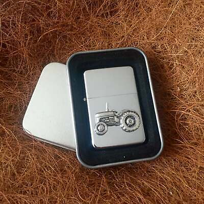 Star Cigarette Lighter /w Pewter Tractor Farming Emblem FREE Gift Tin