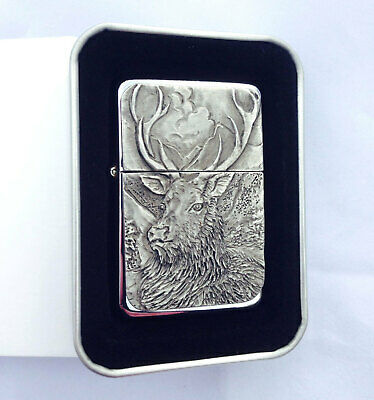 Star Cigarette Lighter /w Pewter Monarch Stag Scene Emblem FREE Gift Tin