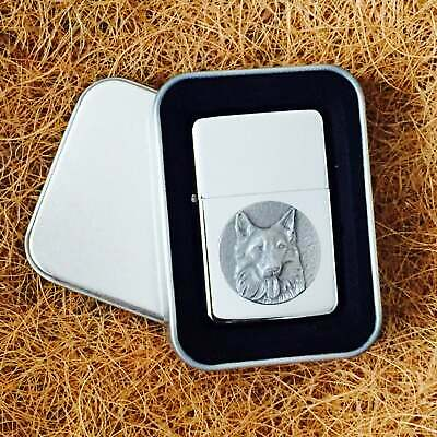 Star Cigarette Lighter /w Pewter German Shepherd Emblem FREE Gift Tin