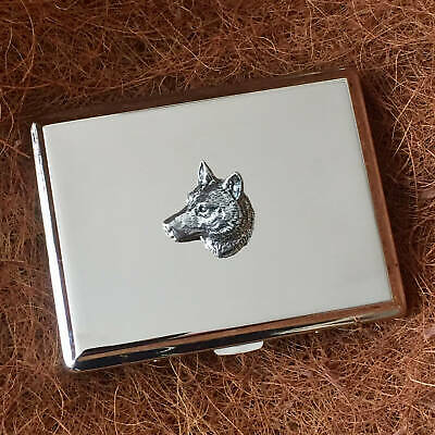 Antique Pewter Wolf head Emblem on a Hand Rolling Tobacco Cigarette Tin Gift