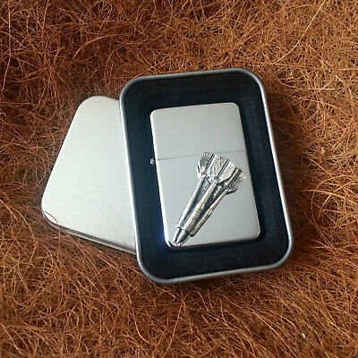 Star Cigarette Lighter /w Pewter Darts Sport Emblem FREE Gift Tin