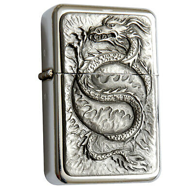Star Lighter /w Pewter Fire Ball Dragon Emblem Complete /w Metal Gift Tin