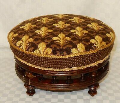 Vintage Mahogany Framed  Round Galleried Footstool with Tapestry Fabric