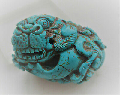 Wonderful Antique Chinese Turquoise Stone Lion Figurine Very Unusual