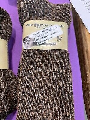 """Alpaca """"Survival Socks"""" (Made in USA) Size Large 10-13 Fawn/black"""