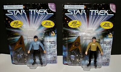 STAR TREK Sulu & Scott Limited Edition Figures w/ Starfleet Gear 1996 Playmates