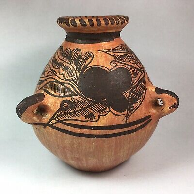 Pre-Columbian Style Reproduction Three Lug Handle Chocolate Pot Painted Pottery