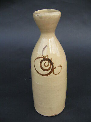 Antique Edo Japanese Seto Stoneware Ceramic Sake Bottle Tokkuri Mingei