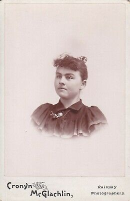 Cabinet Card Railway Photographer Victorian Lady,Corsage,Hair Comb,Curly Bangs