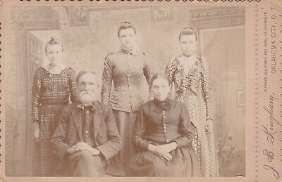 Cabinet Card 1890 Victorian Family Id , 3 Older Daughters,Oklahoma City, O. T.