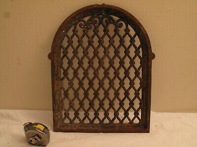 Antique Cast Iron Ornate Vent Register Cover Arch Small Window Gothic Victorian