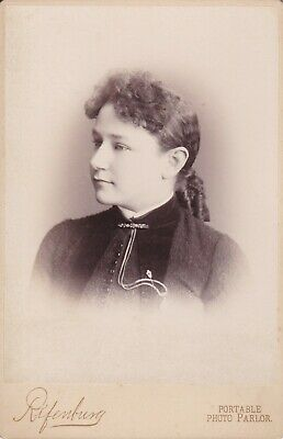 Cabinet Card Traveling Photographer 1886 Side View Lady Gold Watch,Pin,Broach