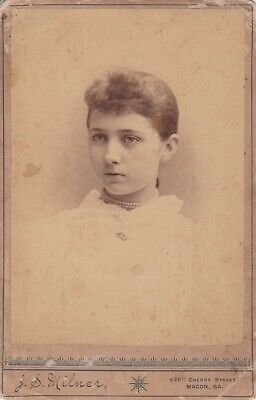 Cabinet Card Macon, Georgia, Young Girl Double Strand Pearls,Bangs, White Dress