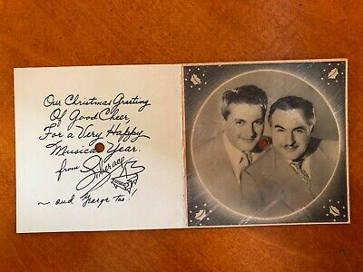 Vintage LIBERACE CHRISTMAS CARD with 78 RECORD rare George 1940s or 1950s