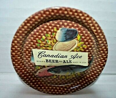 Canadian Ace Beer Ale Chicago Il 1947-1968 Tin Lithograph Coaster