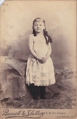 Cabinet Card Great Ad,S.f.cal,1889, Girl Id Long Ringlets,Bangs,Bow,Bracelets
