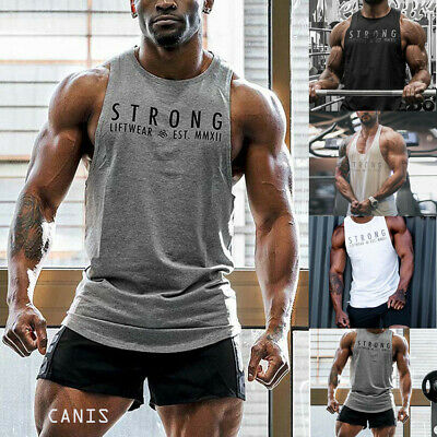 AU Men Fitness Activewear Tank Tops Gym Bodybuilding Muscle Tee O neck Tank Top