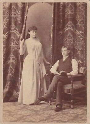 Cabinet Card Actress Coming Out Of Drape In Drape Dress, Gentleman Slippers Book