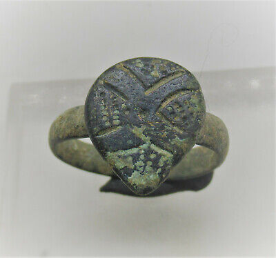 Superb Ancient Byzantine Ring With Decorated Bezel. Very Fine State