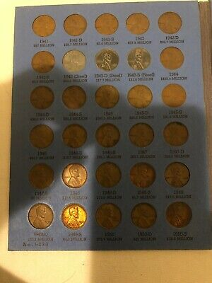 lincoln head cent collections starting 1941. Has A Total Of 59 Coins.