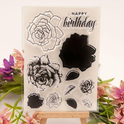 Flower Happy Birthday Seal Stamp With Cutting Dies Stencil Set DIY Scrapbooking