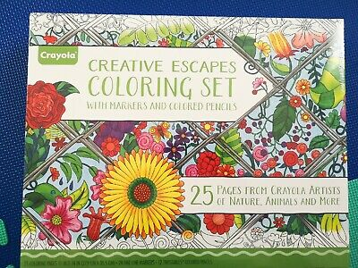 NEW Crayola Creative Escapes Colouring Art Set Pages, Markers & Coloured Pencils