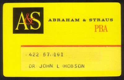 A&S Abraham & Straus Stores PBA Regular Size Thin Plastic Merchant Credit Card