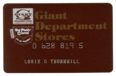 Giant Department Stores & The Pants Corral Regular Size Merchant Credit Card