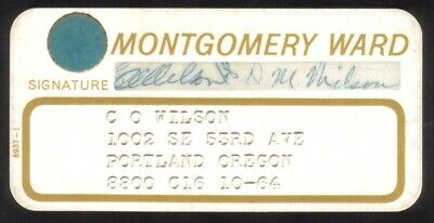 Vintage Montgomery Ward Stores Princess Size Merchant Credit Card