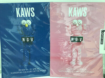 KAWS x NGV BFF Poster Set of 2 Pink and Blue (Ships Worldwide)