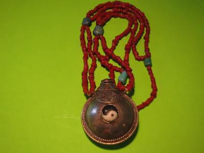 Nice Tibetan / Chinese Silver, Coral, Torquoise & Jeweled Snuff Bottle Necklace