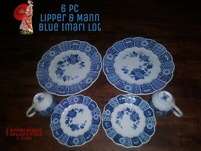Beautiful Vintage Lipper and Mann BLUE IMARI 2 Dinner Plates cup saucers lot